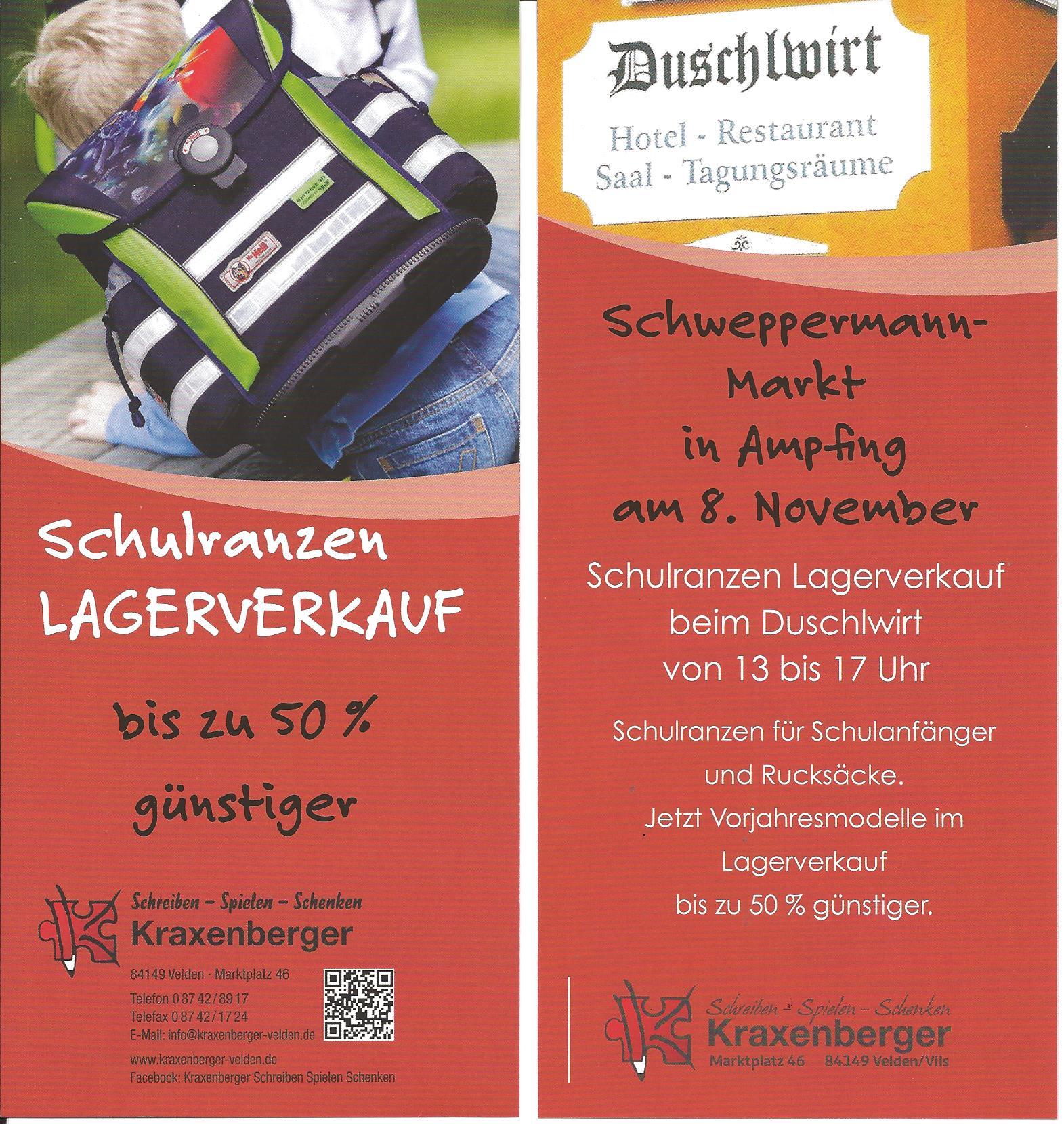 Flyer Schulranzen Lagerverkauf in Ampfing